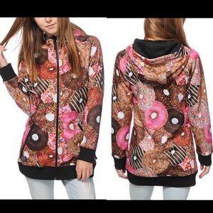 Neff Donut Shred Tech Fleece Hoodie Jacket Sz S